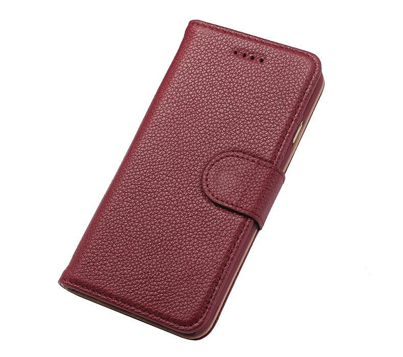 iPhone 6S & 6 Case Red Fashion Cowhide Genuine Leather Wallet with Card and Cash Compartments