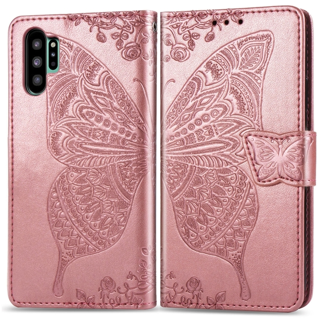 Samsung Galaxy Note 10+ Plus Case Rose Gold Butterfly Flowers Embossed PU Leather Folio Cover