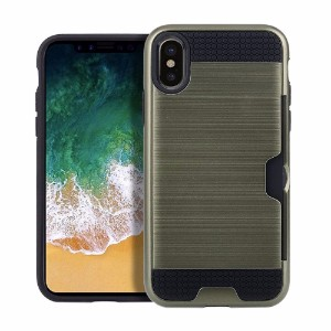 Army Green Brushed Card Slot Armor iPhone 8 Case