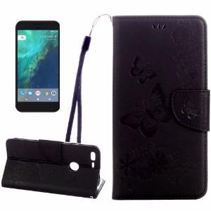 Black Butterflies Emboss Leather Wallet Google Pixel XL Case