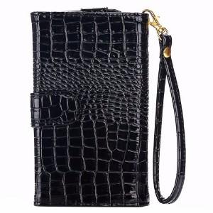 Black Crocodile Texture Leather Wallet iPhone 8 & 7, 5, 6, Samsung S6, S6 EDGE Bag