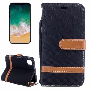 Black Denim Leather Wallet iPhone 8 Case