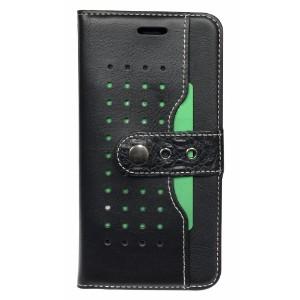 Black Fierre Shann Buckle Leather Wallet iPhone 8 PLUS & 7 PLUS Case