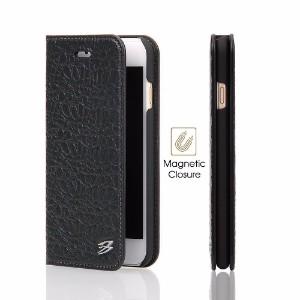 Black Fierre Shann Crocodile Genuine Cow Leather Wallet iPhone 8 & 7 Case