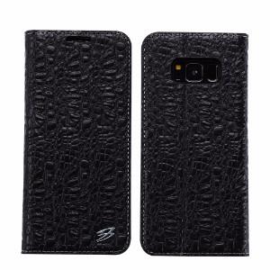 Black Fierre Shann Crocodile Genuine Cow Leather Wallet Samsung Galaxy S8 Case
