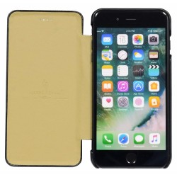 Black Fierre Shann Genuine Leather Flip iPhone 8 PLUS & 7 PLUS Case