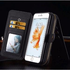 Black Genuine Leather Zipper Wallet Detachable iPhone 7 Case