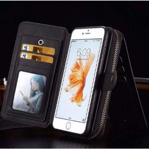 Black Genuine Leather Zipper Wallet Detachable iPhone 8 PLUS & 7 PLUS Case
