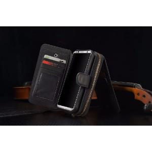 Black Genuine Leather Zipper Wallet Detachable Samsung S8 PLUS Case