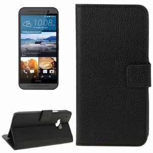 Black Lychee Leather Wallet HTC One M9 Case