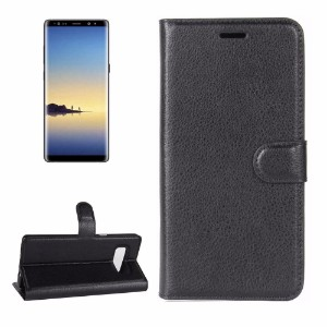 Black Lychee Leather Wallet Samsung Galaxy Note 8 Case