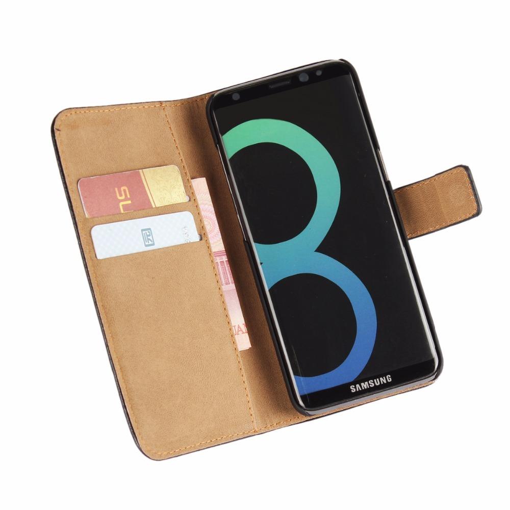 Black Slim Leather Wallet Samsung Galaxy S8 Case