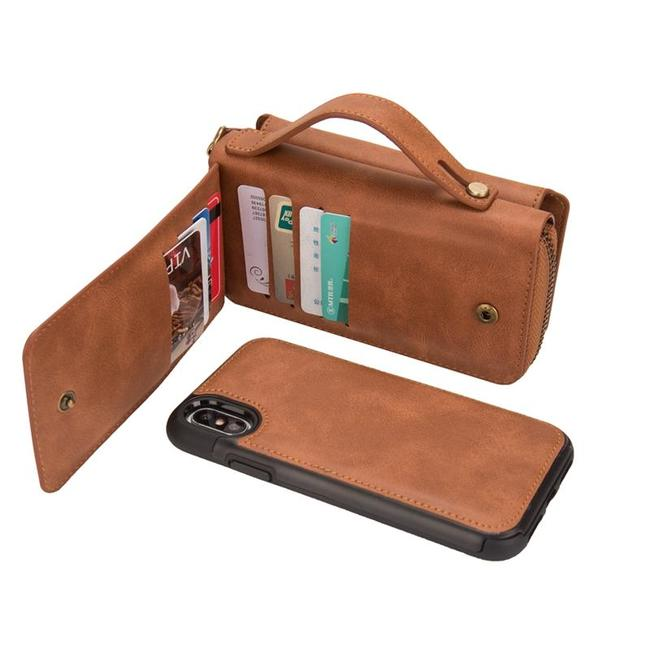 Brown genuine leather detachable iPhone X case