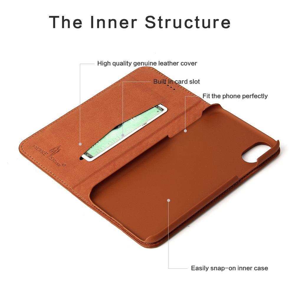 Brown Fierre Shann Copper Leather Wallet Case