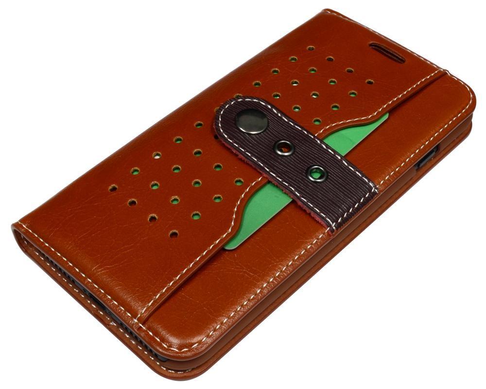 Brown Fierre Shann Buckle Leather Wallet iPhone 7 PLUS Case