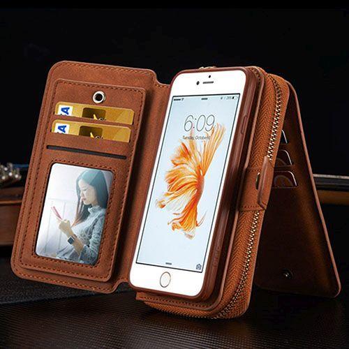 Brown Genuine Leather Zipper Wallet Detachable iPhone 5, 5S & SE Case