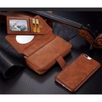 Brown Genuine Leather Zipper Wallet Detachable Samsung S8 Case