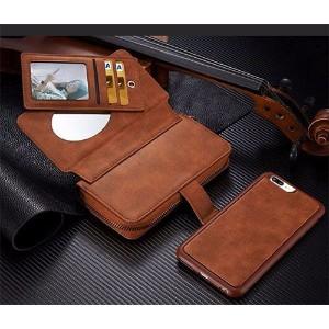 Brown Genuine Leather Zipper Wallet Detachable iPhone 8 PLUS & 7 PLUS Case