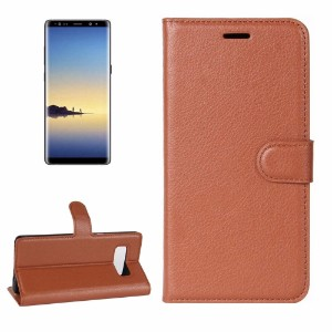 Brown Lychee Leather Wallet Samsung Galaxy Note 8 Case