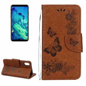 Brown Pressed Flowers Butterfly Leather Wallet iPhone 8 Case