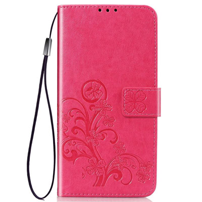 iPhone 11 Pro Case, Four-leaf Clover Emboss PU Leather Folio Wallet Cover