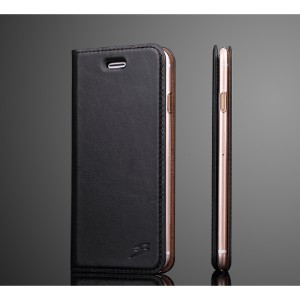 Fashion Black Oil Wax Cowhide Genuine Leather Wallet iPhone 8 & 7 Case