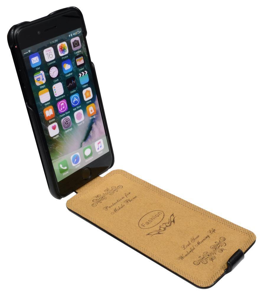 Fashion Black Vertical Flip Genuine Cow Leather iPhone 7 Case