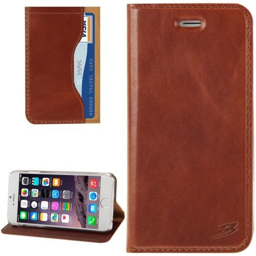 Fashion Brown Oil Wax Cowhide Genuine Leather Wallet iPhone 6 & 6S Case