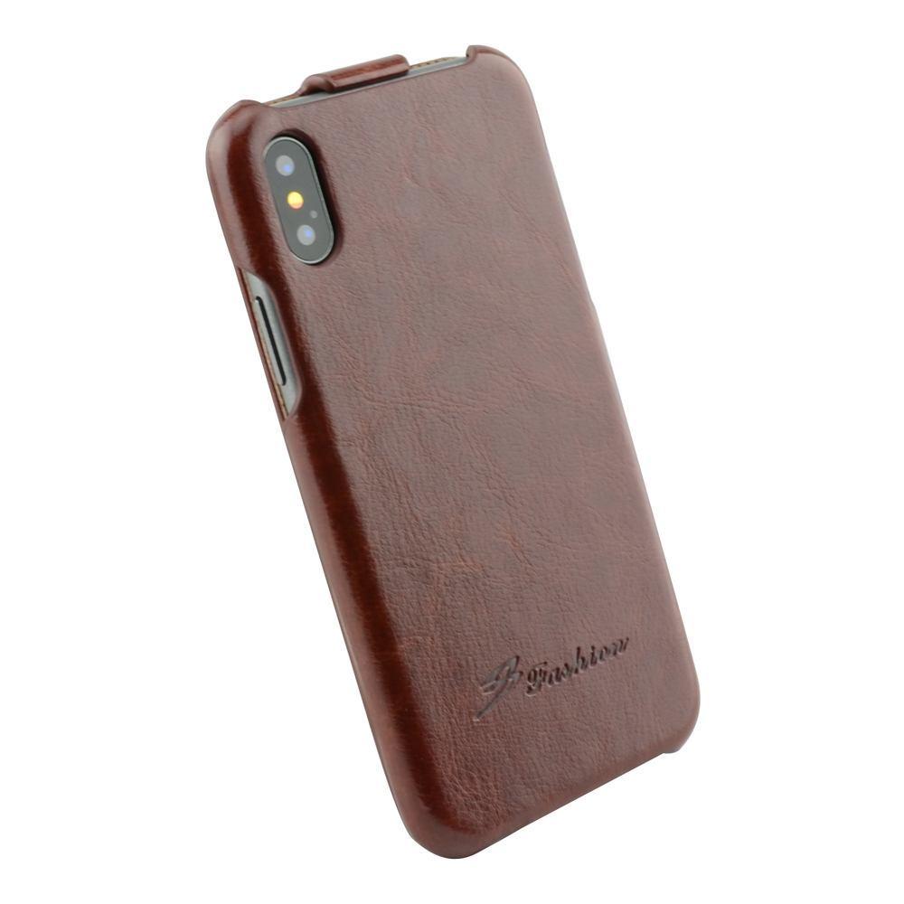 Fashion Brown Vertical Flip Phone Case