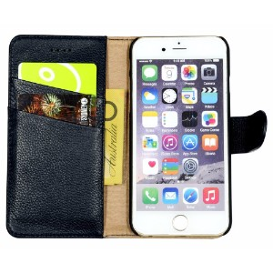 Fashion Navy Cowhide Genuine Leather Wallet iPhone 7 Case