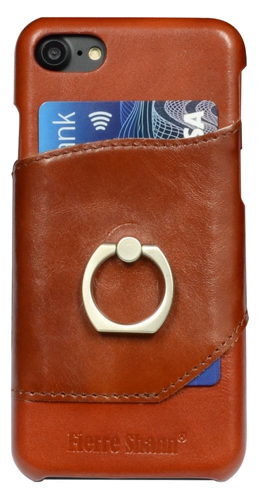 Fierre Shann Brown Ring Holder Genuine Leather iPhone 8 & 7 Case