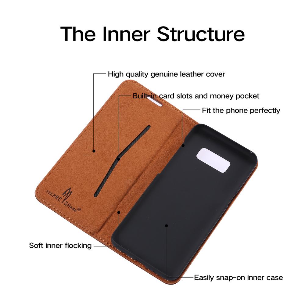Brown Fierre Shann Genuine Cow Leather Wallet Samsung Galaxy S8 Case