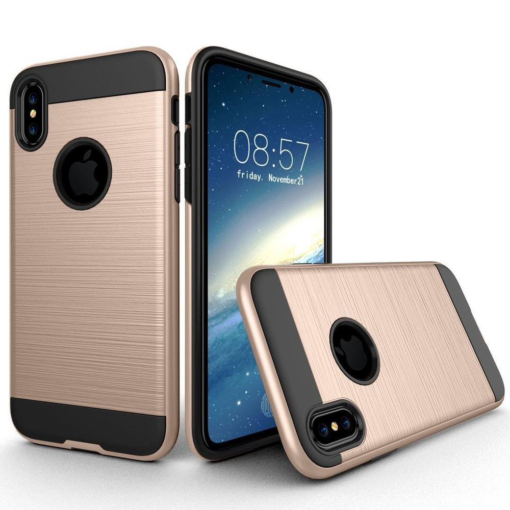 Gold Brushed Texture Armor iPhone XS & X Case