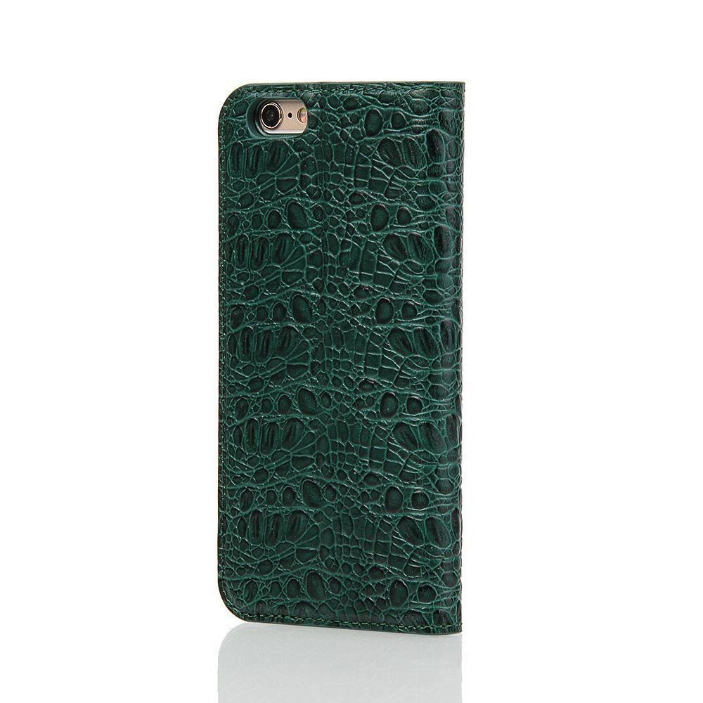 Green Fierre Shann Crocodile Genuine Cow Leather Wallet iPhone 6 & 6S Case