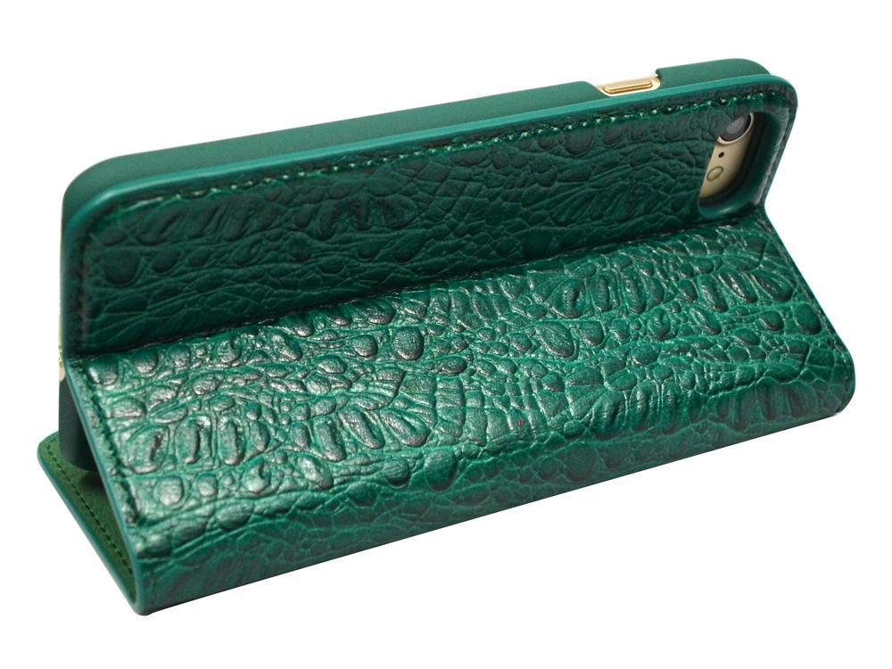 Green Fierre Shann Crocodile Genuine Cow Leather Wallet iPhone 7 Case