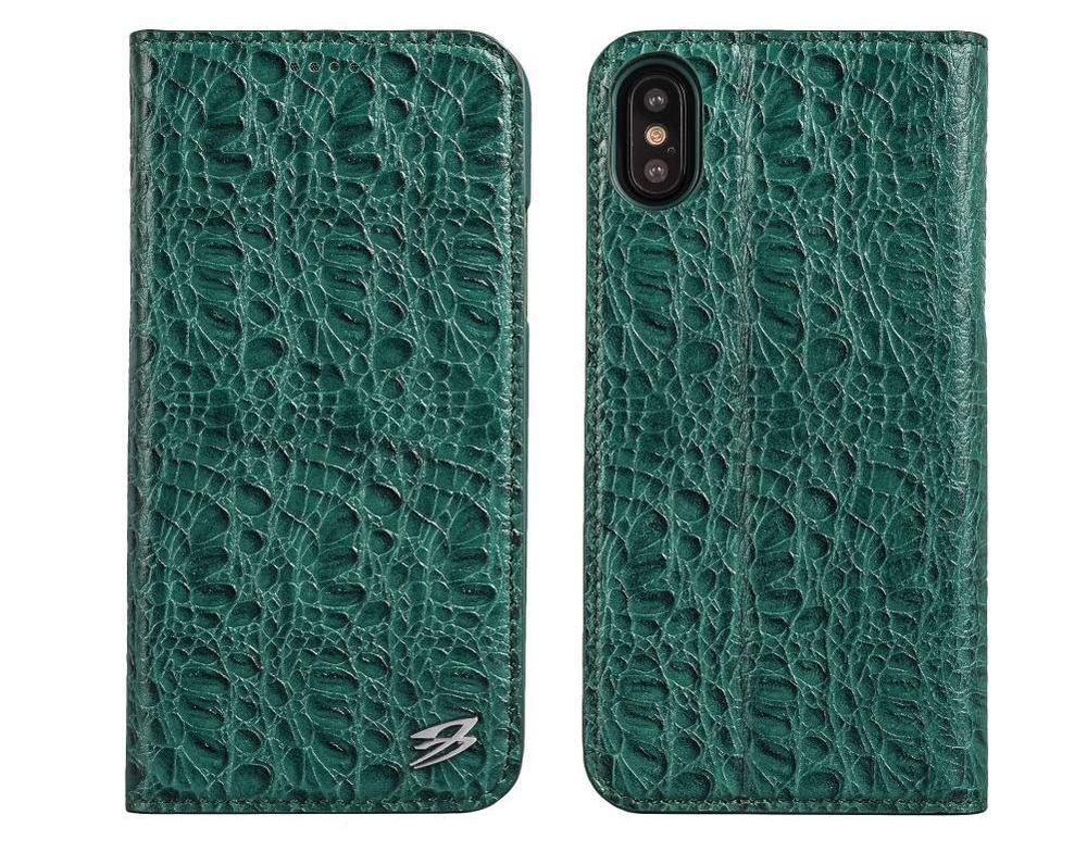 Green Fierre Shann Crocodile Genuine Cow Leather Wallet iPhone X Case