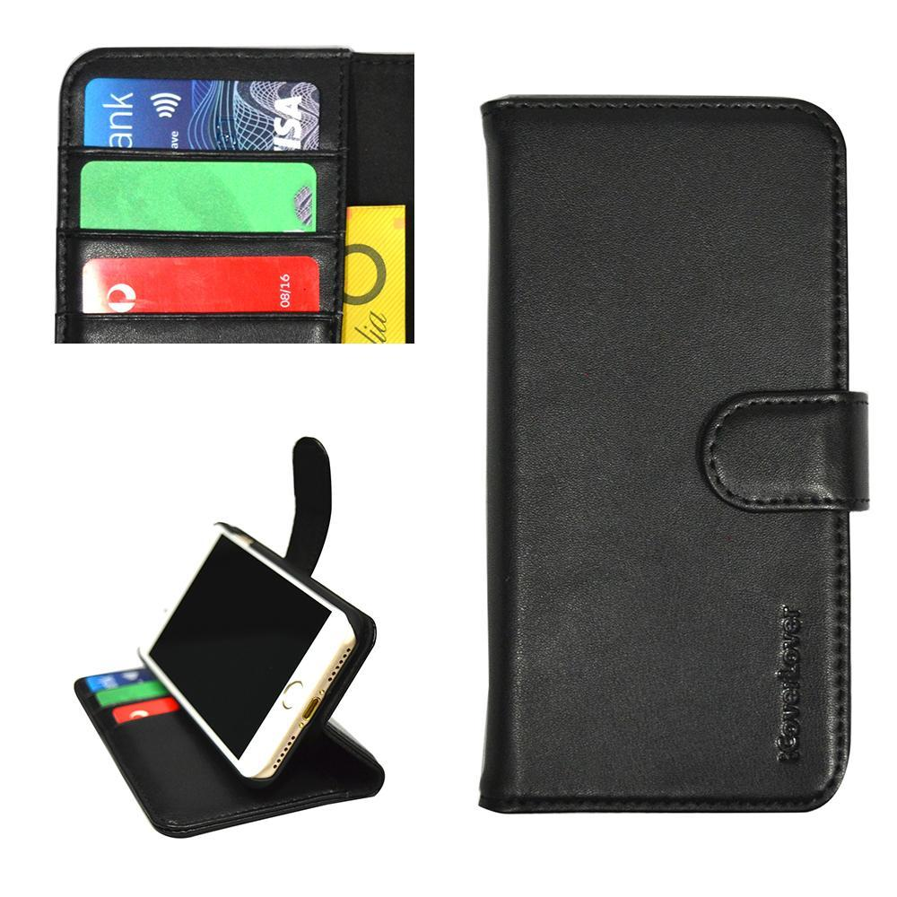 iCoverLover Black Real Top-grain Cow Leather Wallet iPhone 7 Case