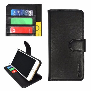 iCoverLover Black Real Top-grain Cow Leather Wallet iPhone 8 PLUS & 7 PLUS Case