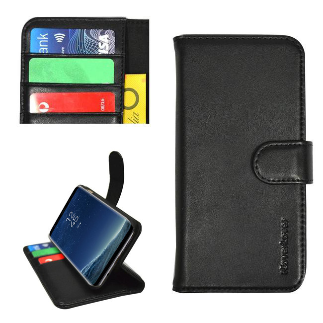 iCoverLover Black Real Top-grain Cow Leather Wallet Samsung Galaxy S8 Case