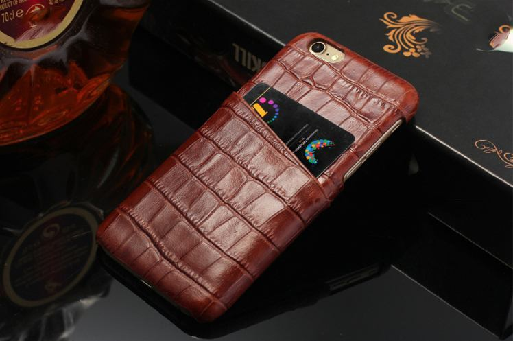 iCoverLover Dark Brown Crocodile Shell Genuine Cow Leather iPhone 7 Case