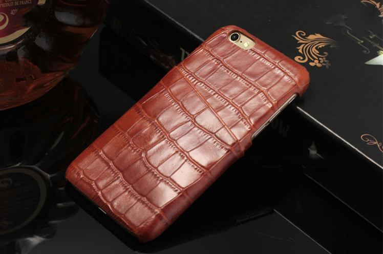 iCoverLover Light Brown Crocodile Shell Genuine Cow Leather iPhone 7 Case