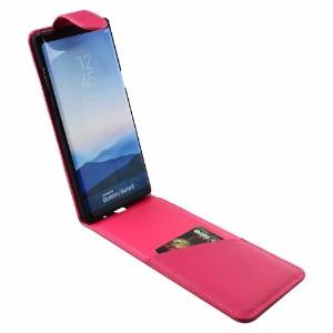 iCoverLover Magenta Vertical Flip Genuine Leather Samsung Galaxy Note 8 Case