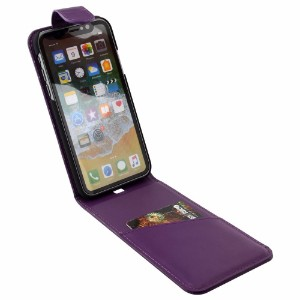 iCoverLover Purple Vertical Flip Genuine Leather iPhone X Case
