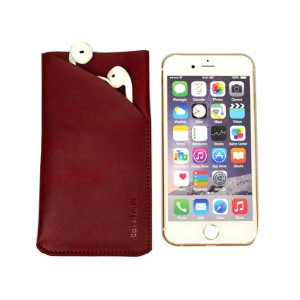 iCoverLover Reddish Brown Real Genuine Leather iPhone 8, 7, 6S & 6 Headphones Pouch Sleeve Cover