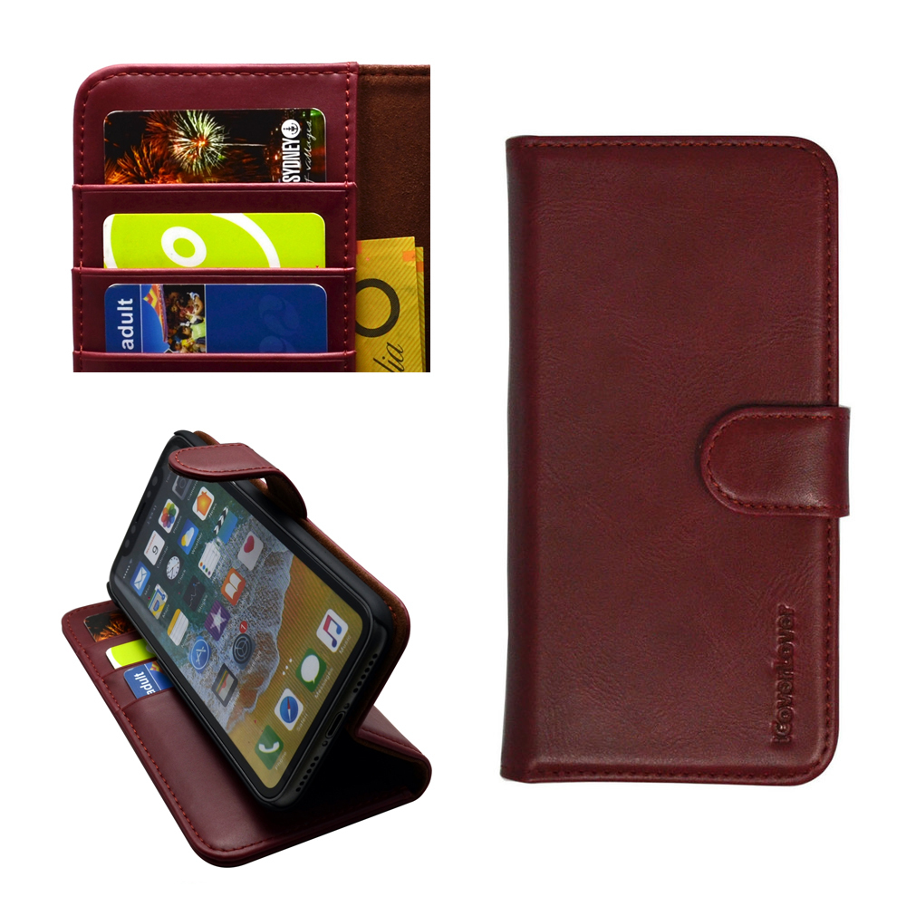 iCoverLover Reddish Brown Real Top-grain Cow Leather Wallet iPhone XS & X Case