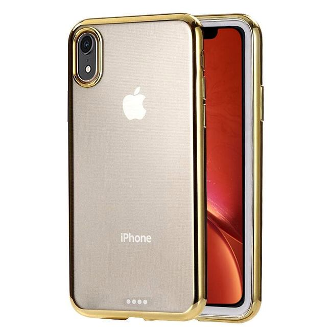 iPhone XR Case Gold Ultra-thin Electroplating Transparent TPU Protective Back Cover
