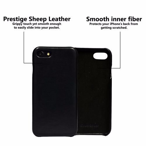 iCoverLover Black Slim Genuine Sheep Leather iPhone 7 Case