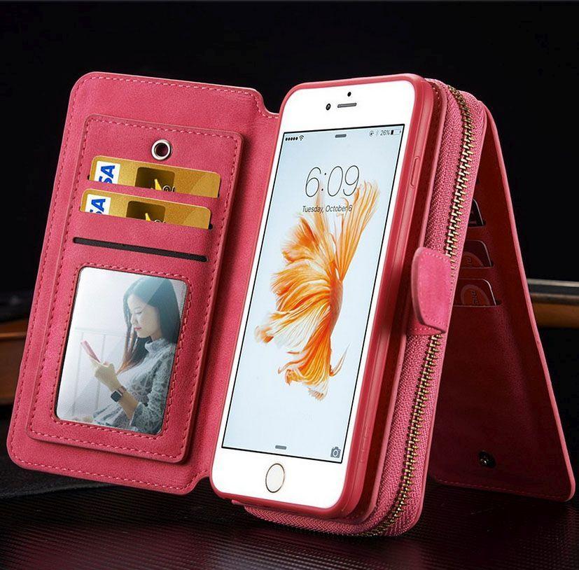 Magenta Genuine Leather Zipper Wallet Detachable iPhone 6 & 6S Case