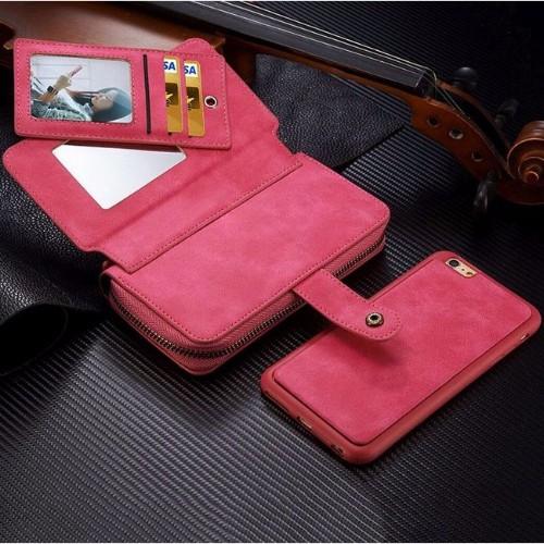 Magenta Genuine Leather Zipper Wallet Detachable iPhone 7 PLUS Case