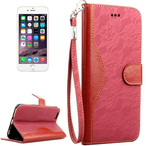 Magenta Lace Leather Wallet iPhone 6 & 6S Case